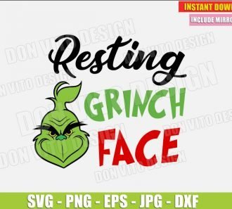 Resting Grinch Face (SVG dxf png) cut files PNG image vector clipart - DonVitoDesign Store
