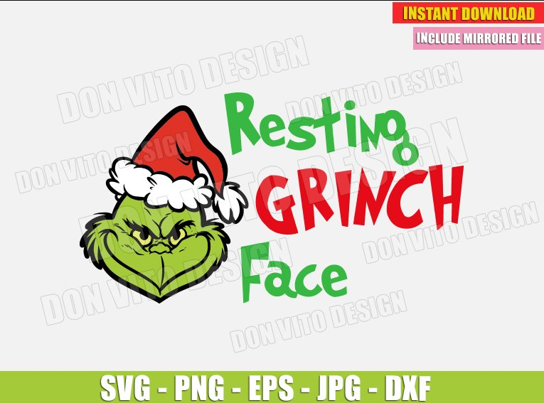 Resting Grinch Face Svg Dxf Png The Grinch Head Santa Hat Cut Files