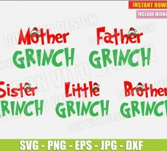 The Family Grinch (SVG dxf png) cut files PNG image vector clipart - DonVitoDesign Store