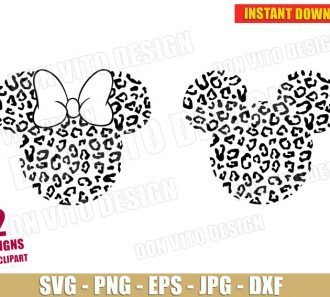 Mickey & Minnie Mouse Safari Cheetah (SVG dxf png) cut files png image vector clipart - DonVitoDesign Store