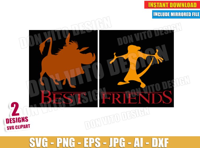 Timon & Pumba - Best Friends (SVG dxf png) SVG cut files PNG image vector clipart - DonVitoDesign Store