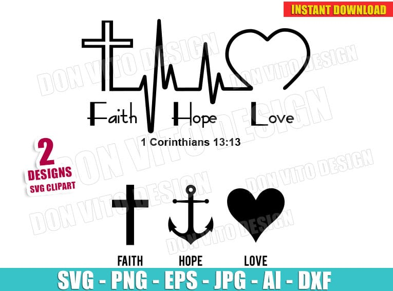 Faith Hope Love Heartbeat Svg Dxf Png Christian Religious Cut Files