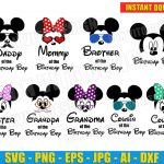 Family Birthday Boy Mickey Bundle (SVG dxf png) Disney Minnie Mouse Glasses Cut Files Silhouette Cricut Ears Bow Head Vector Clipart T-Shirt