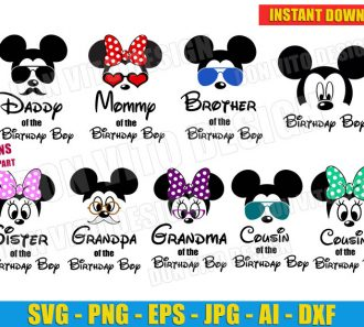 Family Birthday Boy Mickey Bundle (SVG dxf png) cut files PNG image vector clipart - DonVitoDesign Store