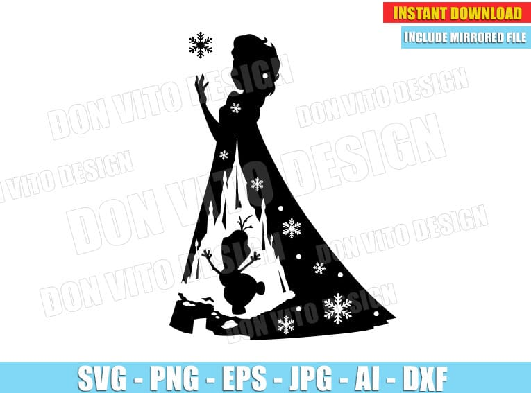 Frozen Elsa Olaf (SVG dxf png) cut files png image vector clipart - DonVitoDesign Store