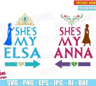 Frozen - She's my Elsa & She is my Anna (SVG dxf png) cut files PNG image vector clipart - DonVitoDesign Store