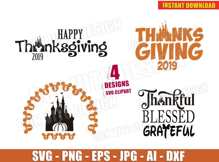 Happy Thanksgiving Day 2019 Svg Dxf Png Disney Castle Mickey Cut
