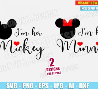 I'm Her Mickey & I'm His Minnie Mouse (SVG dxf png) cut files PNG image vector clipart - DonVitoDesign Store
