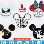 Jack Skellington Disney Movie (SVG dxf png) Mickey & Minnie Mouse Head Ears Sally Face Bow Vector Clipart T-Shirt Design Halloween Kids DIY