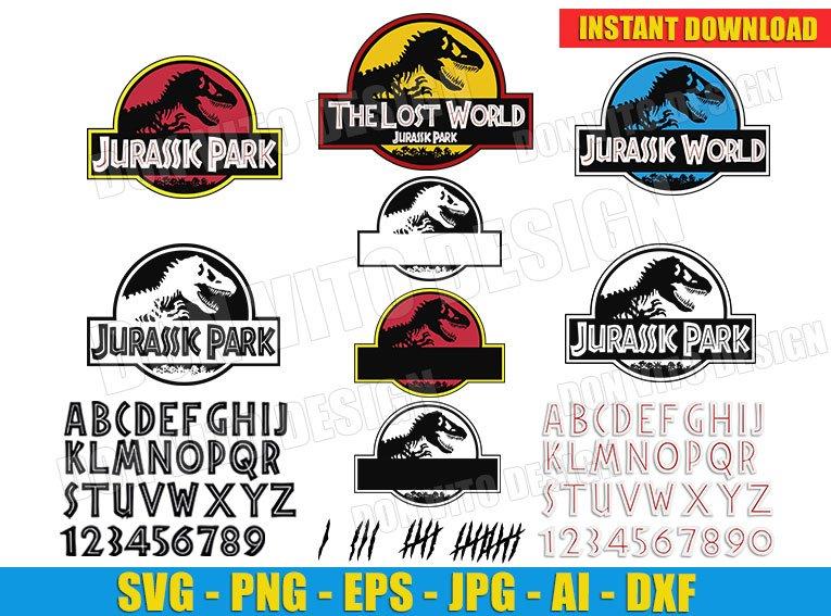 Jurassic Park Bundle Alphabet Movie Logo Svg Dxf Png Cut Files