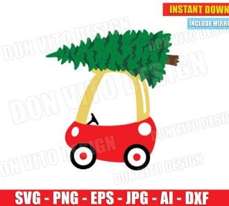 Kid's Car with Christmas Tree (SVG dxf png) cut files png image vector clipart - DonVitoDesign Store