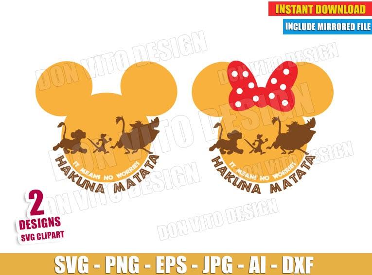 Lion King Mickey Hakuna Matata (SVG dxf png) cut files png image vector clipart - DonVitoDesign Store