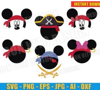 Mickey Minnie Mouse Cute Pirate (SVG png) cut files png image vector clipart - DonVitoDesign Store