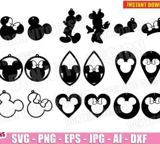 Mickey & Minnie Mouse Earrings Bundle (SVG dxf png) cut files png image vector clipart - DonVitoDesign Store