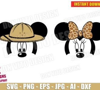Mickey Minnie Mouse Safari (SVG dxf png) cut files png image vector clipart - DonVitoDesign Store