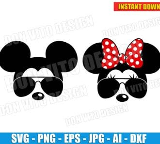 Mickey Minnie Mouse Sunglasses (SVG dxf png) cut files PNG image vector clipart - DonVitoDesign Store