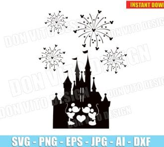 Mickey Minnie Mouse Kissing Disney Castle (SVG dxf png) cut files png image vector clipart - DonVitoDesign Store