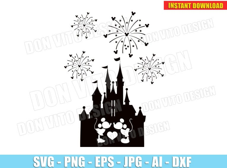 Mickey Minnie Mouse Kissing Disney Castle Svg Dxf Png Fireworks Cut