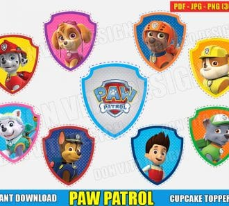 Paw Patrol Logo Cupcake Toppers (PDF jpg png) cut files png image vector clipart - DonVitoDesign Store
