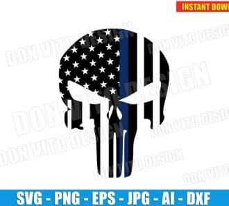 Punisher American Flag Logo (SVG dxf png) cut files png image vector clipart - DonVitoDesign Store