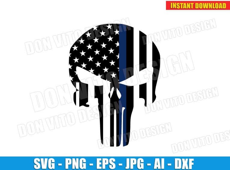 Punisher American Flag Logo Svg Dxf Png Police Blue Line Skull Cut