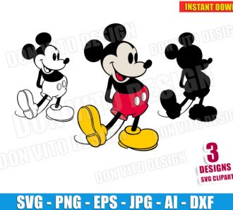 Retro Mickey Mouse (SVG dxf png) cut files png image vector clipart - DonVitoDesign Store
