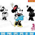 Retro Minnie Mouse (SVG dxf png) Disney Classic Mickey Vector Clipart Cut File Silhouette Cricut T-Shirt Design Boy Girl Vinyl Decal Stencil