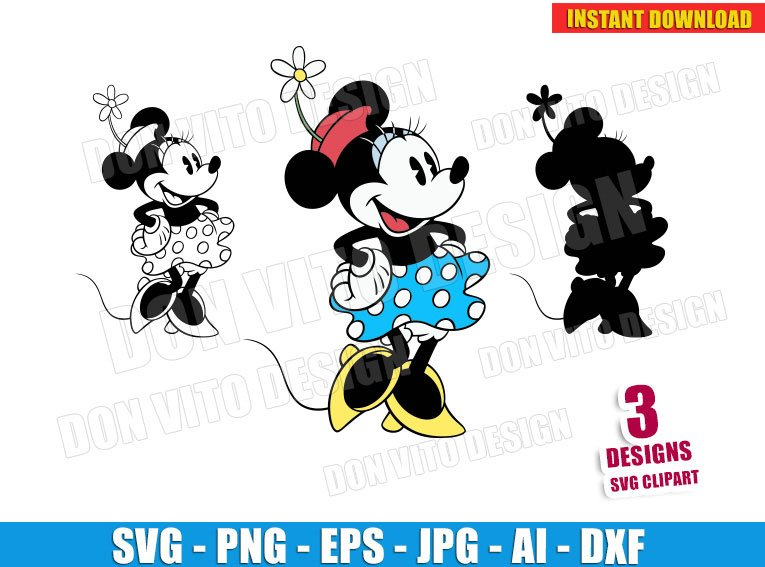 Retro Minnie Mouse (SVG dxf png) cut files PNG image vector clipart - DonVitoDesign Store