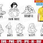 Seven Dwarfs (SVG dxf png) Disney Snow White Movie Cut Files Vector Clipart Halloween Costume Dopey Grumpy Happy Doc T-Shirt Design Kids DIY