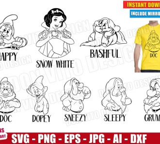 Seven Dwarfs (SVG dxf png) cut files png image vector clipart - DonVitoDesign Store