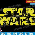 Star Wars Logo Movie (SVG dxf png) Disney StarWars Cut Files Vector Clipart T-Shirt Design May 4th Jedi Yoda C3PO R2D2 Vinyl Decal Stencil
