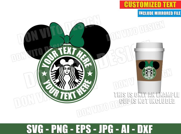 Starbucks Disney Logo Customised Svg Dxf Png Minnie Mouse Cut Files