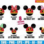 The Incredibles Mickey Mouse Family (SVG dxf png) Disney Birthday Party Cut Files Head Ears Bow T-Shirt Name Dad Mom Sister Brother Boy Girl
