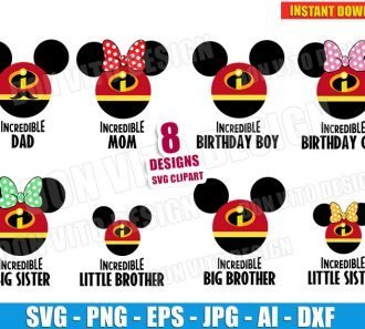 The Incredibles Mickey Mouse Family (SVG dxf png) cut files png image vector clipart - DonVitoDesign Store