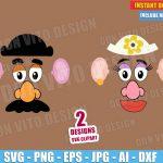 Toy Story Mr & Mrs Potato Head Face (SVG dxf png) Disney Pixar Movie Vector Clipart Cut File T-Shirt Design Kids Boy Girl Birthday Party DIY