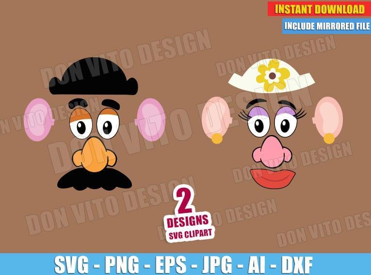 Toy Story Mr & Mrs Potato Head Face (SVG dxf png) Disney Pixar Movie Vector Clipart Cut File