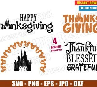 Disney Happy Thanksgiving Day Bundle (SVG dxf png) Mickey Mouse Castle Pumpkin Head Cut Files Vector Clipart - Don Vito Design Store