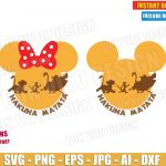 Lion King Hakuna Matata (SVG dxf png) Disney Movie Mickey Minnie Mouse Head Ears Bow Cut Files Simba Timon Pumba T-Shirt Design Boy Girl DIY