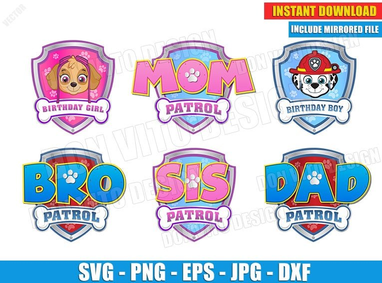 Logo Paw Patrol Birthday Party Svg Dxf Png Skye Marshall Cut File Face