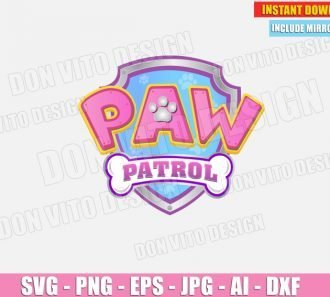 Logo Paw Patrol Birthday Party Pink (SVG dxf png) cut files PNG image vector clipart - DonVitoDesign Store