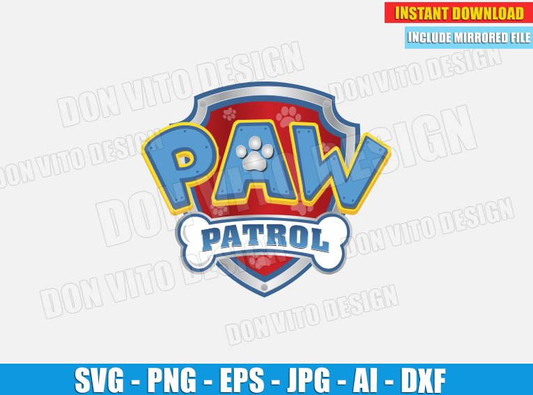 Logo Paw Patrol Birthday Party Svg Dxf Png Chase Clipart Cut Files