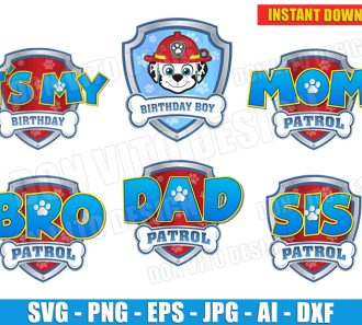 Logo Paw Patrol Party Boy (SVG dxf png) cut files PNG image vector clipart - DonVitoDesign Store