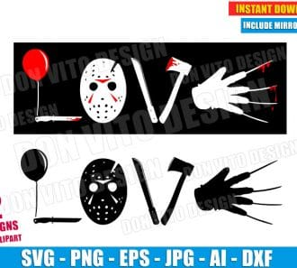 Love Horror Movie SVG dxf png cut files image vector clipart - DonVitoDesign Store -