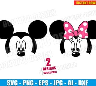 Mickey Minnie Mouse Head (SVG dxf png) SVG cut files PNG image vector clipart - DonVitoDesign Store
