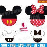 Mickey & Minnie Mouse Head (SVG dxf png) Disney Cut Files Silhouette Cricut Vector Clipart Ears Bow Dots T-Shirt Design Party Boy Girls DIY