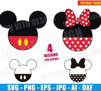Mickey & Minnie Mouse Head (SVG dxf png) SVG cut files PNG image vector clipart - DonVitoDesign Store