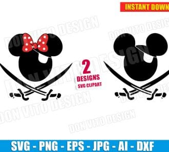 Mickey Minnie Mouse Pirate Sword (SVG dxf png) SVG cut files PNG image vector clipart - DonVitoDesign Store