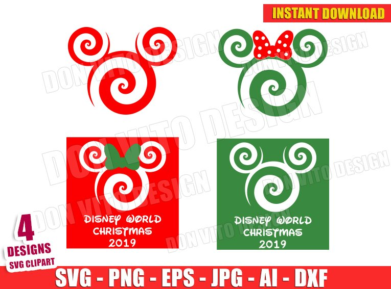 Mickey & Minnie Mouse Swirl (SVG dxf png) cut files PNG image vector clipart - DonVitoDesign Store