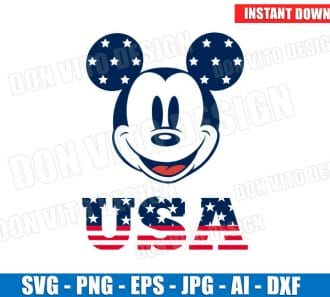 Mickey Mouse 4th of July SVG dxf png cut files image vector clipart - DonVitoDesign Store -