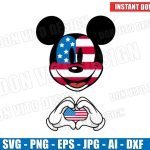 Mickey Mouse 4th of July USA Flag Hands Heart (SVG dxf png) Disney Love Head Ears American Holiday Cut Files Vector Clipart T-Shirt Boy Girl